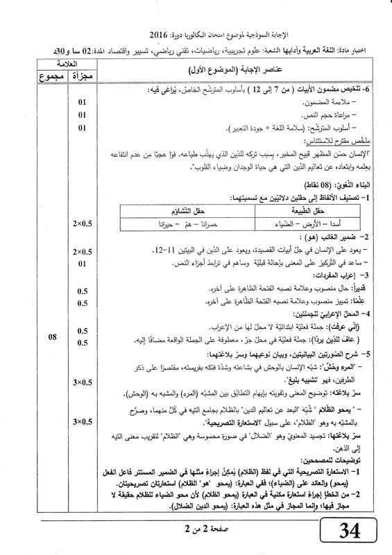 التصحيح النموذجي لموضوع اللغة العربية بكالوريا 2016 شعب علمية Page-1_orig